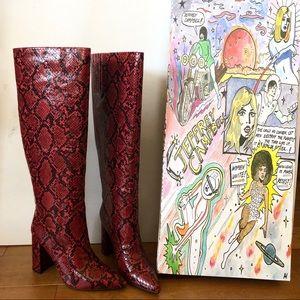 Jeffrey Campbell Siren Knee-High Red Snake Boots